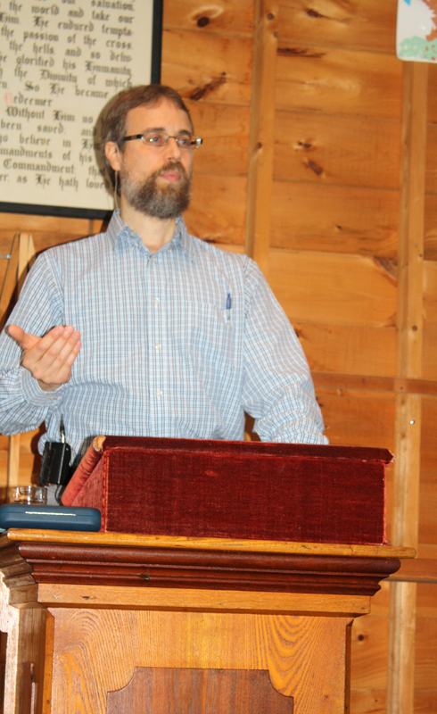 Lee Woofenden speaking at Fryeburg New Church Assembly, Fryeburg, Maine, August 2012