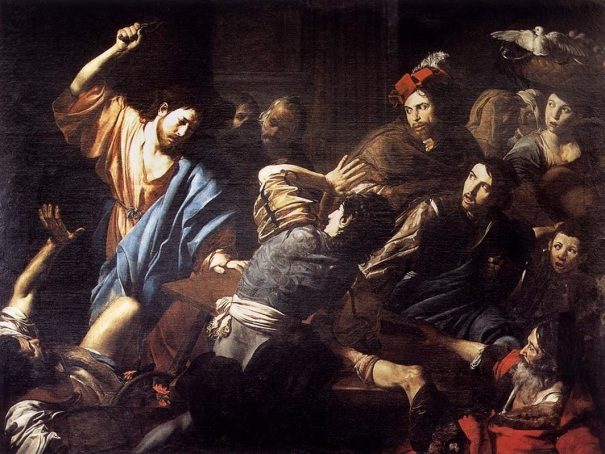 Jesus clears the temple with a whip