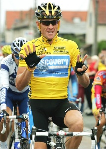 Lance Armstrong holds up seven fingers in 2005 to signal his seven Tour de France victories