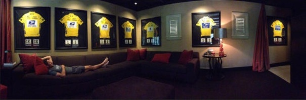 Lance Armstrong relaxes at his home in Austin, Texas, with his Seven Tour de France Jerseys