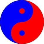 Yin Yang in red and blue