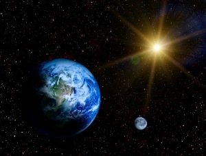 Sun, Moon, and Stars surrounding the Earth
