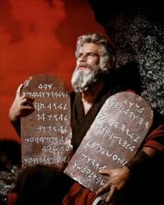 Charlton Heston as Moses in the epic 1956 Cecil B. DeMille film, The Ten Commandments