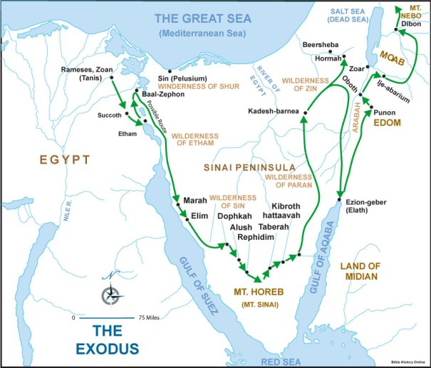 Map of the Exodus from Egypt to the Holy Land, courtesy of Bible-History.com