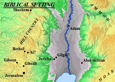 Map showing the position of the Biblical town of Bethel in relation to Jericho and Jerusalem
