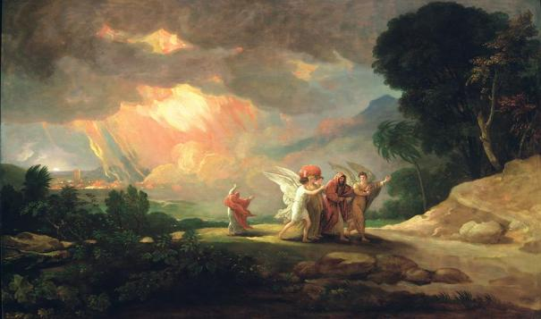 Lot Fleeing from Sodom, by American artist Benjamin West, oil on panel, 1810