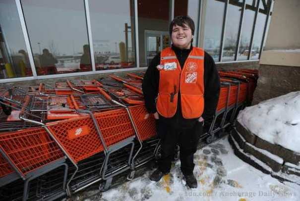 Chris Strickland at the Home Depot store Anchorage, Alaska, where he caught a falling baby girl