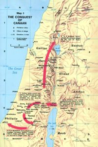 Joshua's Conquest of Canaan, showing Gilgal as the base camp