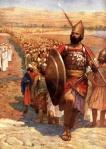 Joshua leading the Israelites across the Jordan