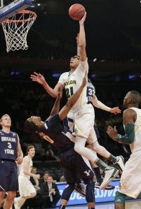 Isaiah Austin shoots a basket for Baylor University