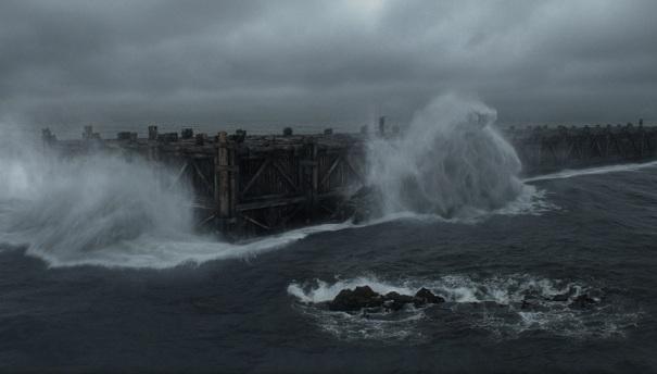 Noah's Ark at sea, from the 2014 Darren Aronofsky film