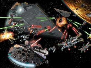 Star Wars space battle scene