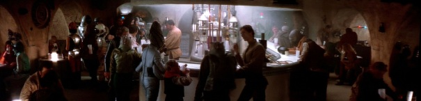Star Wars alien bar scene at Mos Eisley Cantina on Tatooine