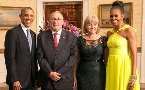 Barack & Michelle Obama with Guy Scott & Charlotte Harland-Scott