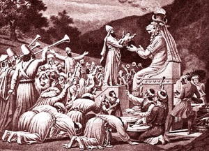 Sacrificing an infant to the ancient Canaanite god Moloch