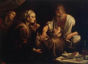 Isaac Blessing Jacob, by Gioachino Assereto (1600-1649)