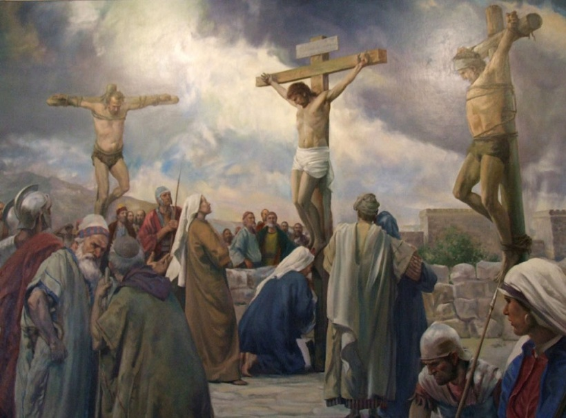Image result for image of the thieves with jesus on the cross