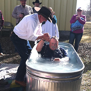 Horse trough baptism