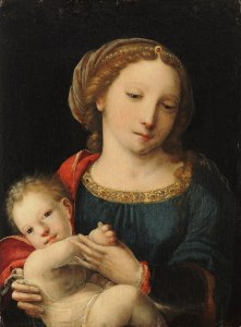 "Virgin Mary and Child, by ""Master with the Parrot"""