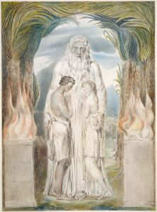 The Angel of the Divine Presence clothing Adam and Eve with skins, by William Blake